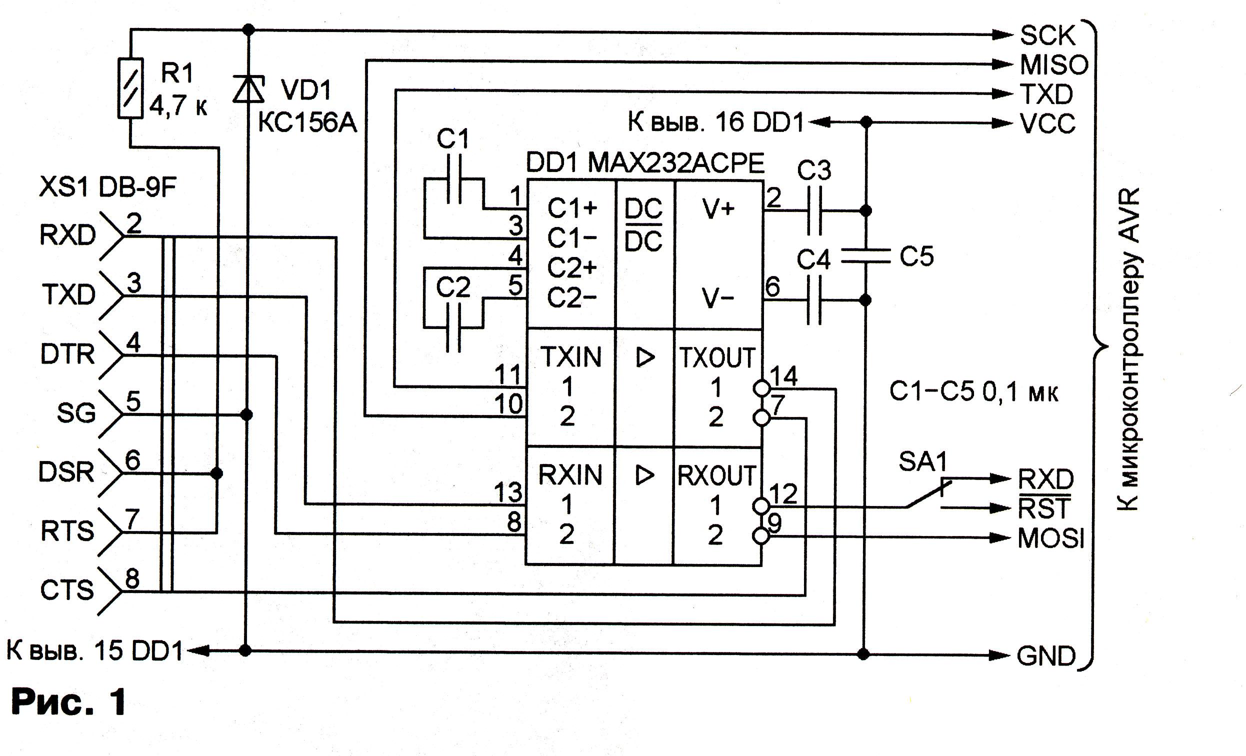 преобразователь usb - rs232 - rs485 - uart схема